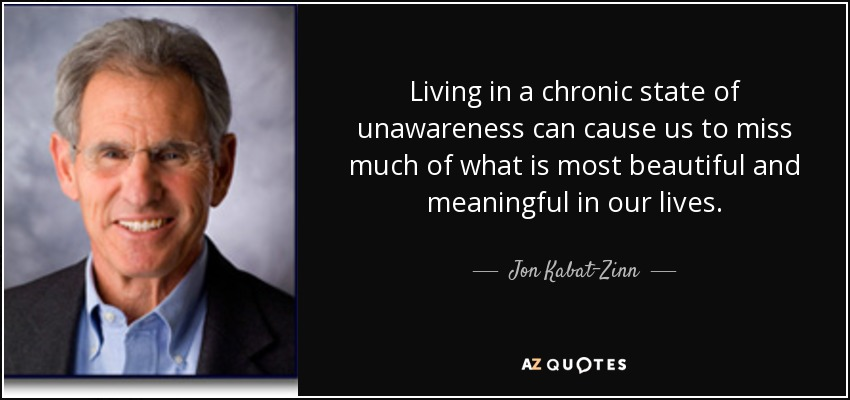 Living in a chronic state of unawareness can cause us to miss much of what is most beautiful and meaningful in our lives. - Jon Kabat-Zinn