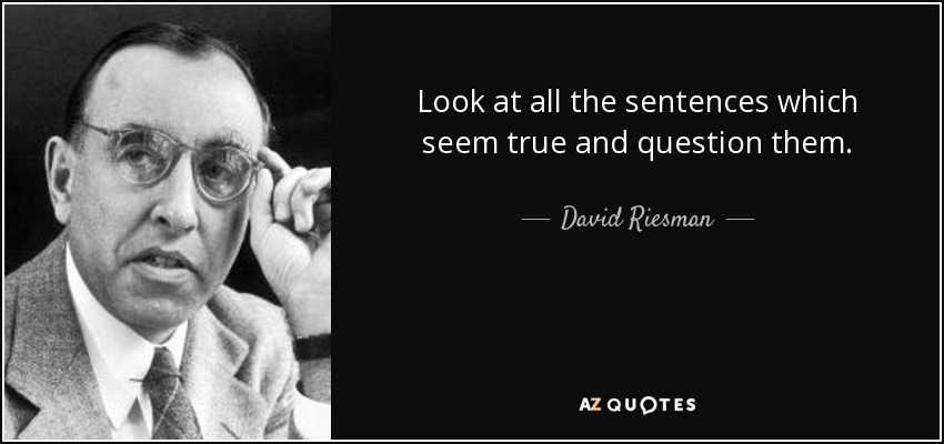 Look at all the sentences which seem true and question them. - David Riesman