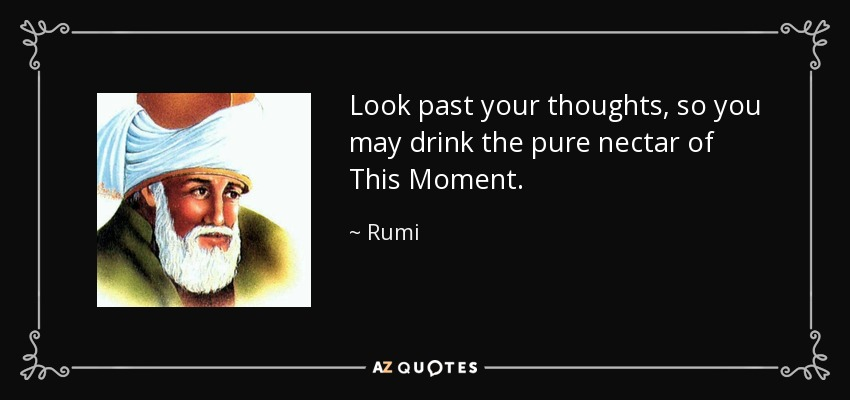 Look past your thoughts, so you may drink the pure nectar of This Moment. - Rumi