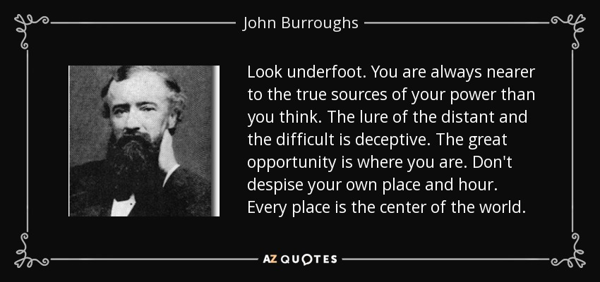 Look underfoot. You are always nearer to the true sources of your power than you think. The lure of the distant and the difficult is deceptive. The great opportunity is where you are. Don't despise your own place and hour. Every place is the center of the world. - John Burroughs