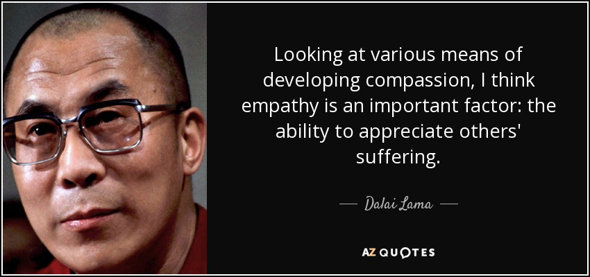 Looking at various means of developing compassion, I think empathy is an important factor: the ability to appreciate others' suffering. - Dalai Lama
