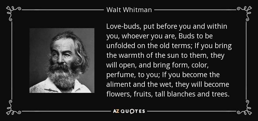 Love-buds, put before you and within you, whoever you are, Buds to be unfolded on the old terms; If you bring the warmth of the sun to them, they will open, and bring form, color, perfume, to you; If you become the aliment and the wet, they will become flowers, fruits, tall blanches and trees. - Walt Whitman