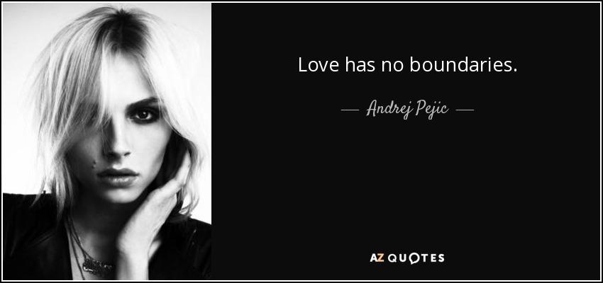 Love has no boundaries. - Andrej Pejic