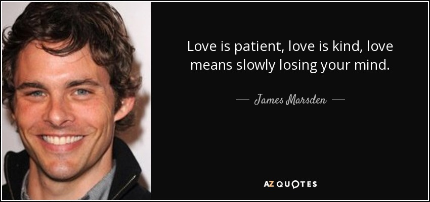 Love is patient, love is kind, love means slowly losing your mind. - James Marsden