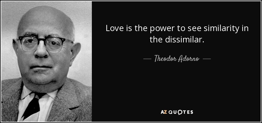 Love is the power to see similarity in the dissimilar. - Theodor Adorno