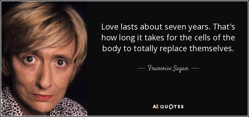 Love lasts about seven years. That's how long it takes for the cells of the body to totally replace themselves. - Francoise Sagan