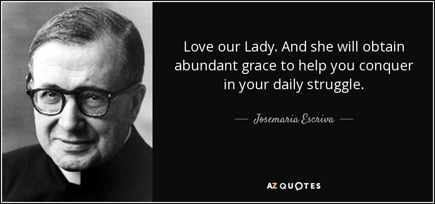 Love our Lady. And she will obtain abundant grace to help you conquer in your daily struggle. - Josemaria Escriva