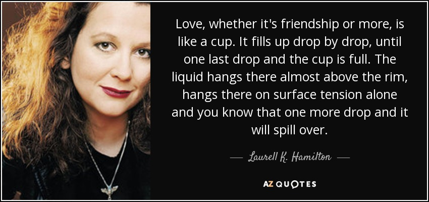 Love, whether it's friendship or more, is like a cup. It fills up drop by drop, until one last drop and the cup is full. The liquid hangs there almost above the rim, hangs there on surface tension alone and you know that one more drop and it will spill over. - Laurell K. Hamilton
