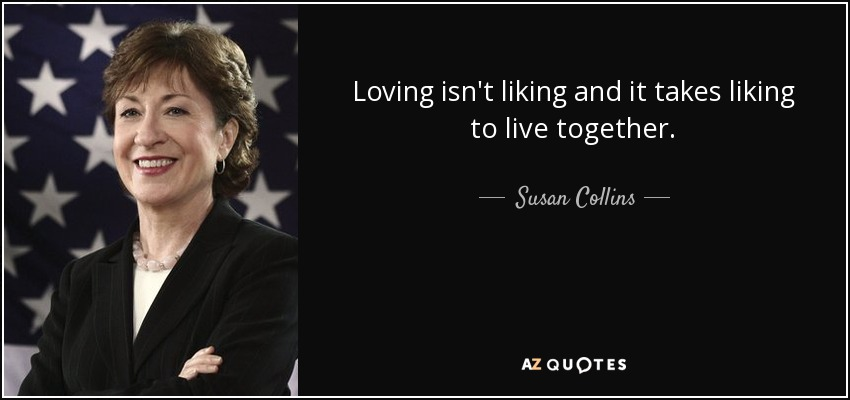 Loving isn't liking and it takes liking to live together. - Susan Collins