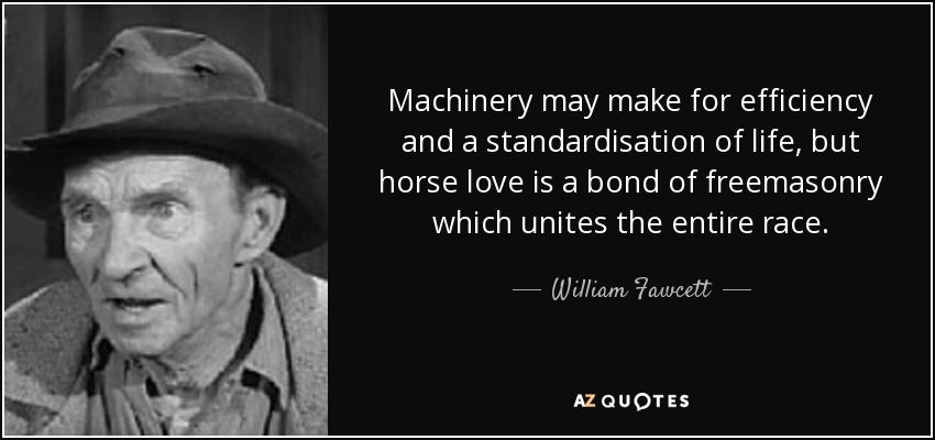 Machinery may make for efficiency and a standardisation of life, but horse love is a bond of freemasonry which unites the entire race. - William Fawcett