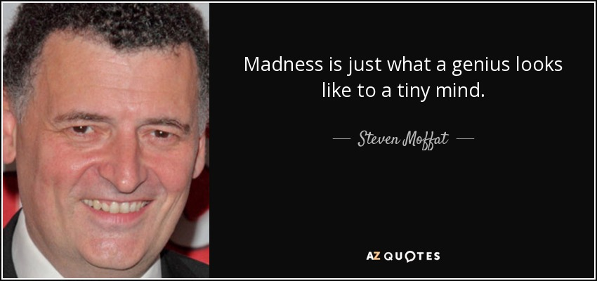 Madness is just what a genius looks like to a tiny mind. - Steven Moffat