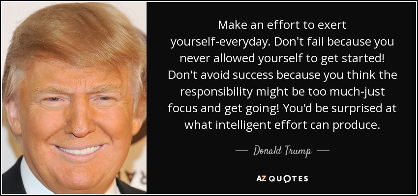 Make an effort to exert yourself-everyday. Don't fail because you never allowed yourself to get started! Don't avoid success because you think the responsibility might be too much-just focus and get going! You'd be surprised at what intelligent effort can produce. - Donald Trump