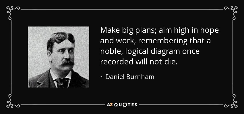 Make big plans; aim high in hope and work, remembering that a noble, logical diagram once recorded will not die. - Daniel Burnham