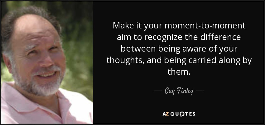 Make it your moment-to-moment aim to recognize the difference between being aware of your thoughts, and being carried along by them. - Guy Finley