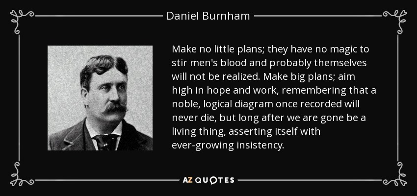 Make no little plans; they have no magic to stir men's blood and probably themselves will not be realized. Make big plans; aim high in hope and work, remembering that a noble, logical diagram once recorded will never die, but long after we are gone be a living thing, asserting itself with ever-growing insistency. - Daniel Burnham