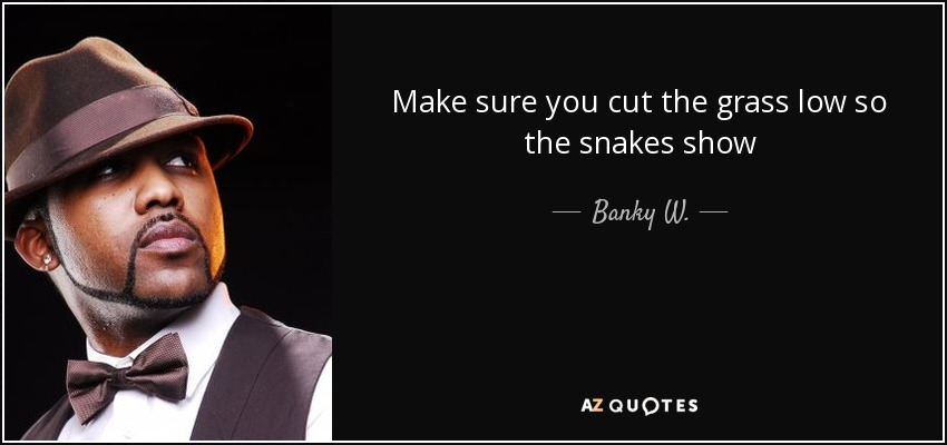Banky W Quote Make Sure You Cut The Grass Low So The Snakes