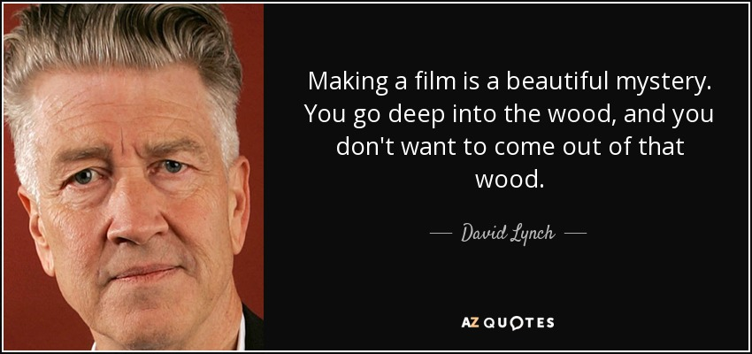 Making a film is a beautiful mystery. You go deep into the wood, and you don't want to come out of that wood. - David Lynch