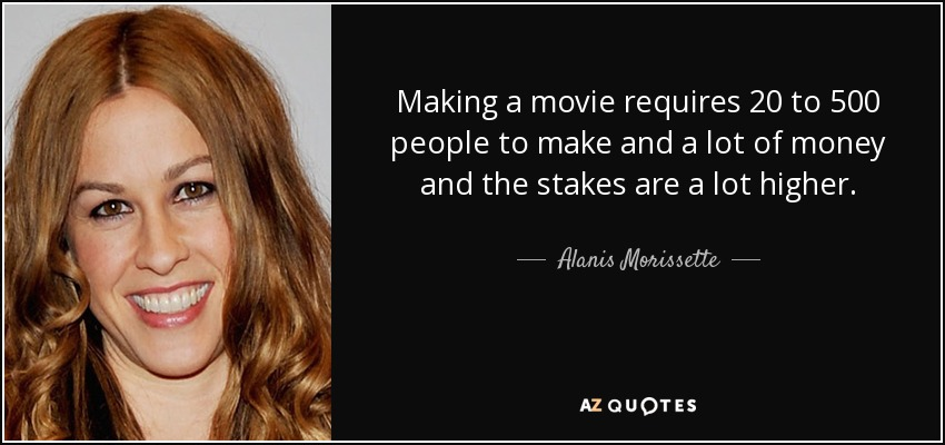 Making a movie requires 20 to 500 people to make and a lot of money and the stakes are a lot higher. - Alanis Morissette