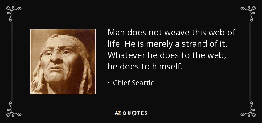 Man does not weave this web of life. He is merely a strand of it. Whatever he does to the web, he does to himself. - Chief Seattle