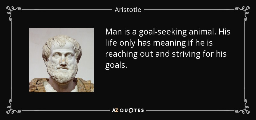 Man is a goal-seeking animal. His life only has meaning if he is reaching out and striving for his goals. - Aristotle