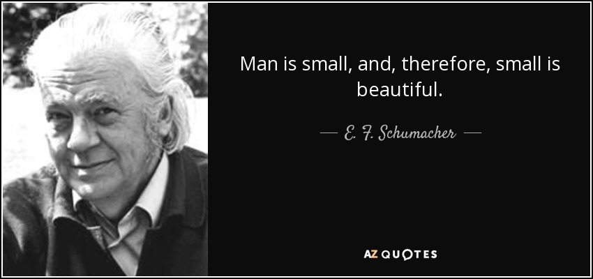 E. F. Schumacher quote: Man is small, and, therefore, small is ...