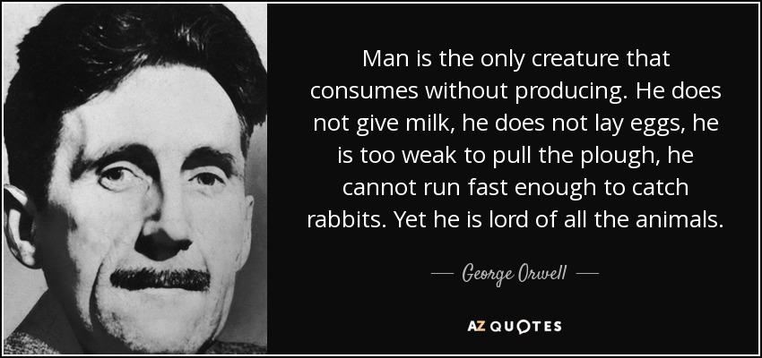 Man is the only creature that consumes without producing. He does not give milk, he does not lay eggs, he is too weak to pull the plough, he cannot run fast enough to catch rabbits. Yet he is lord of all the animals. - George Orwell