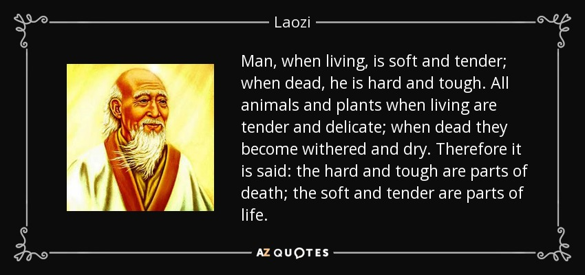 Man, when living, is soft and tender; when dead, he is hard and tough. All animals and plants when living are tender and delicate; when dead they become withered and dry. Therefore it is said: the hard and tough are parts of death; the soft and tender are parts of life. - Laozi