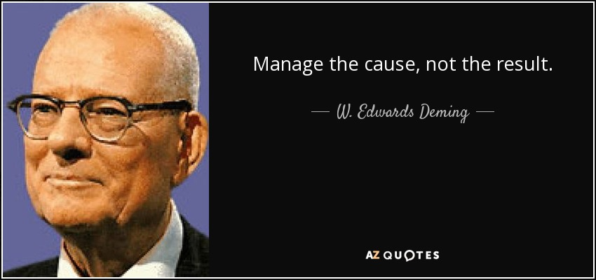Manage the cause, not the result. - W. Edwards Deming