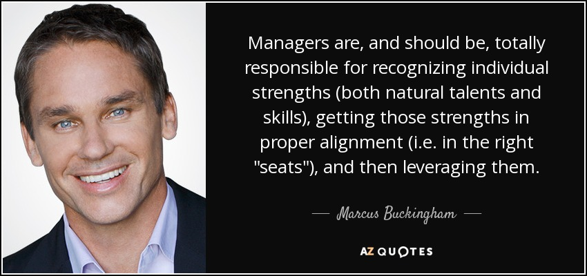 Managers are, and should be, totally responsible for recognizing individual strengths (both natural talents and skills), getting those strengths in proper alignment (i.e. in the right