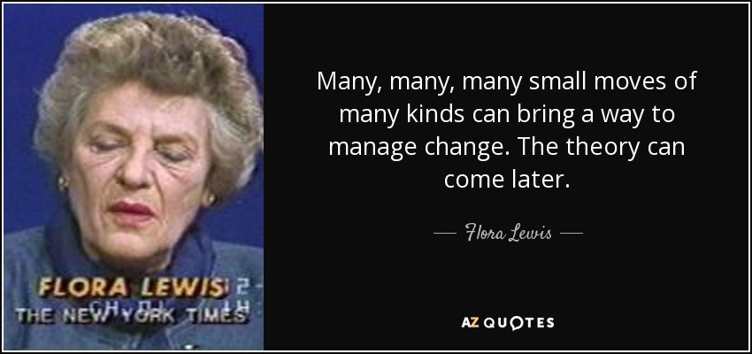 Many, many, many small moves of many kinds can bring a way to manage change. The theory can come later. - Flora Lewis