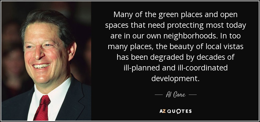 Many of the green places and open spaces that need protecting most today are in our own neighborhoods. In too many places, the beauty of local vistas has been degraded by decades of ill-planned and ill-coordinated development. - Al Gore