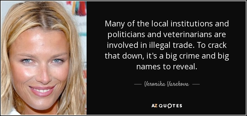Many of the local institutions and politicians and veterinarians are involved in illegal trade. To crack that down, it's a big crime and big names to reveal. - Veronika Varekova