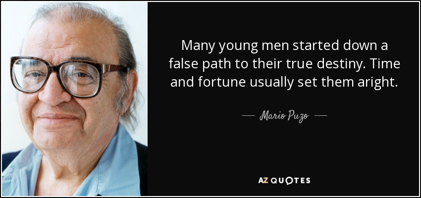 Many young men started down a false path to their true destiny. Time and fortune usually set them aright. - Mario Puzo