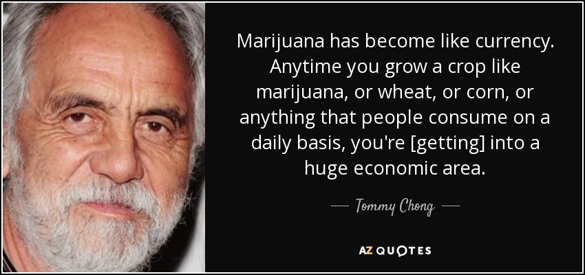 Marijuana has become like currency. Anytime you grow a crop like marijuana, or wheat, or corn, or anything that people consume on a daily basis, you're [getting] into a huge economic area. - Tommy Chong