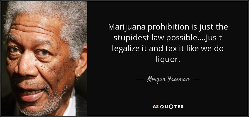Marijuana prohibition is just the stupidest law possible....Jus t legalize it and tax it like we do liquor. - Morgan Freeman