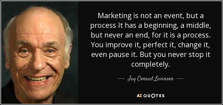 Marketing is not an event, but a process It has a beginning, a middle, but never an end, for it is a process. You improve it, perfect it, change it, even pause it. But you never stop it completely. - Jay Conrad Levinson