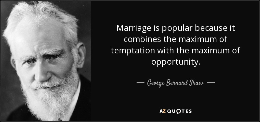 Marriage is popular because it combines the maximum of temptation with the maximum of opportunity. - George Bernard Shaw