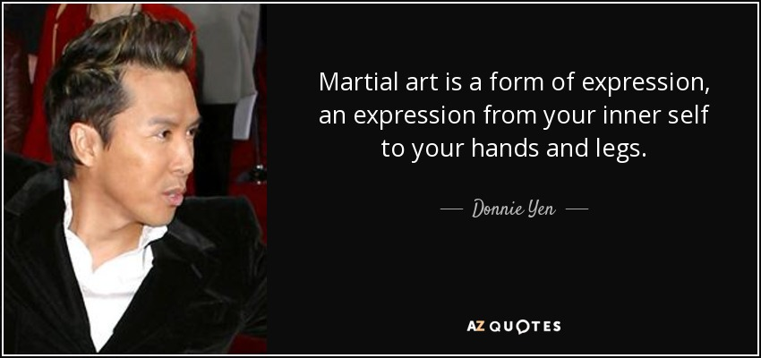 Martial art is a form of expression, an expression from your inner self to your hands and legs. - Donnie Yen