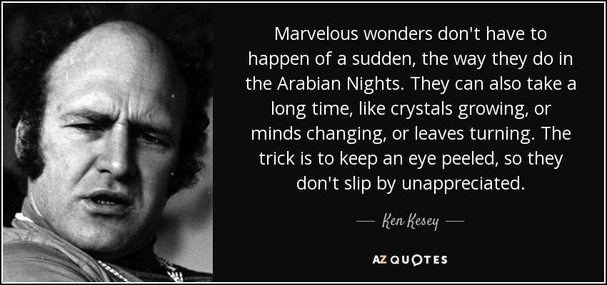 Marvelous wonders don't have to happen of a sudden, the way they do in the Arabian Nights. They can also take a long time, like crystals growing, or minds changing, or leaves turning. The trick is to keep an eye peeled, so they don't slip by unappreciated. - Ken Kesey