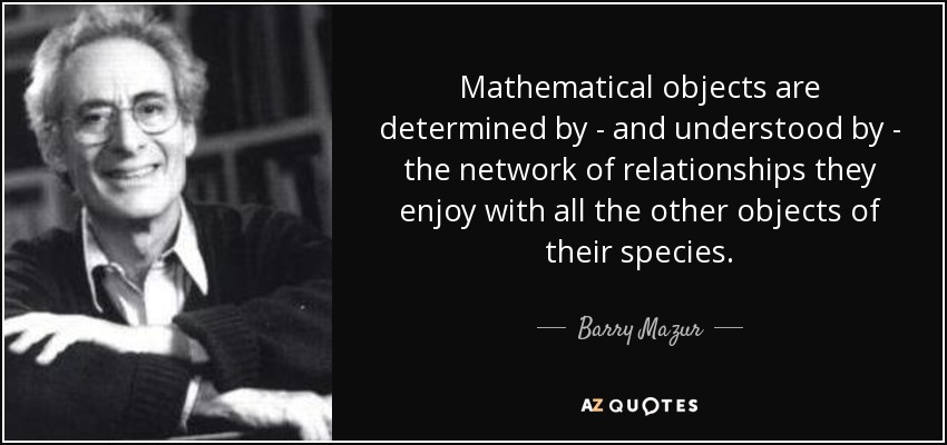 Mathematical objects are determined by - and understood by - the network of relationships they enjoy with all the other objects of their species. - Barry Mazur