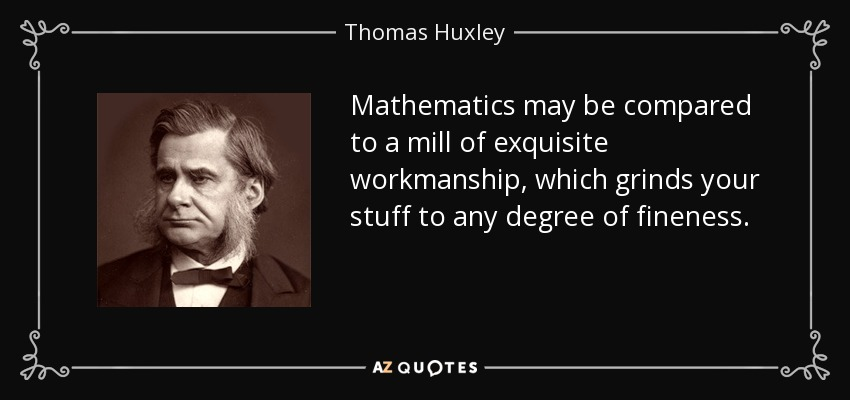 Mathematics may be compared to a mill of exquisite workmanship, which grinds your stuff to any degree of fineness. - Thomas Huxley