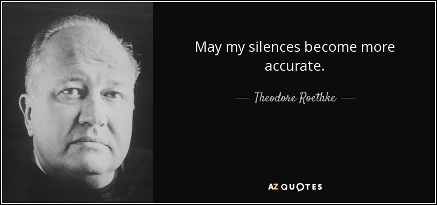May my silences become more accurate. - Theodore Roethke