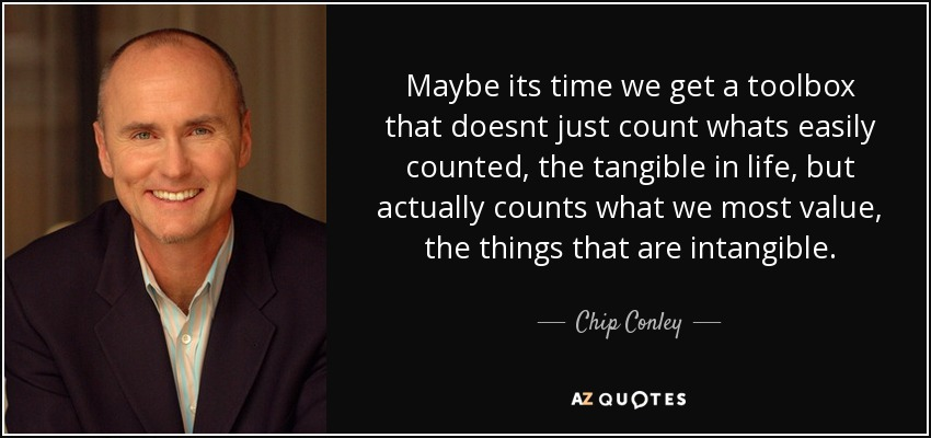 Maybe its time we get a toolbox that doesnt just count whats easily counted, the tangible in life, but actually counts what we most value, the things that are intangible. - Chip Conley