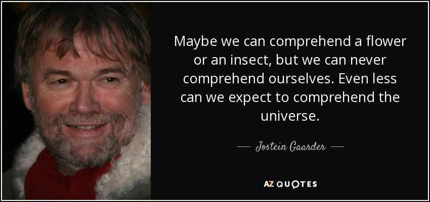 Maybe we can comprehend a flower or an insect, but we can never comprehend ourselves. Even less can we expect to comprehend the universe. - Jostein Gaarder