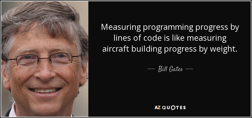 Measuring programming progress by lines of code is like measuring aircraft building progress by weight. - Bill Gates