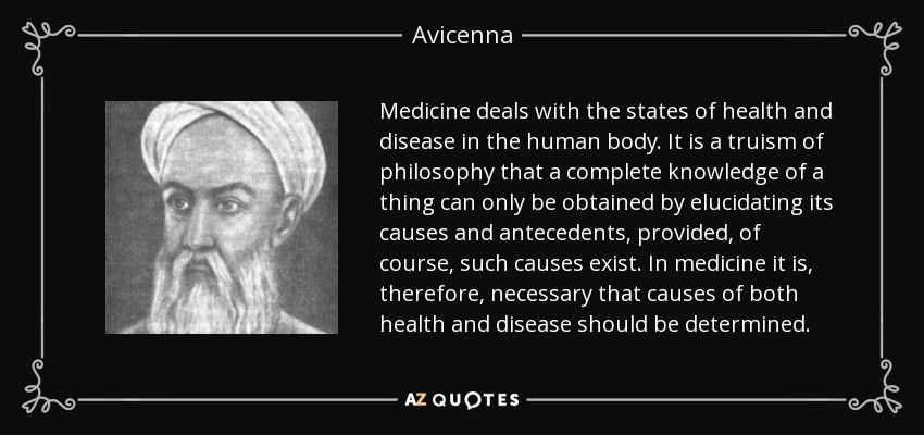 Avicenna quote: Medicine deals with the states of health ...