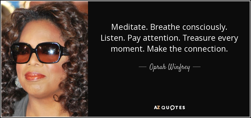 Meditate. Breathe consciously. Listen. Pay attention. Treasure every moment. Make the connection. - Oprah Winfrey