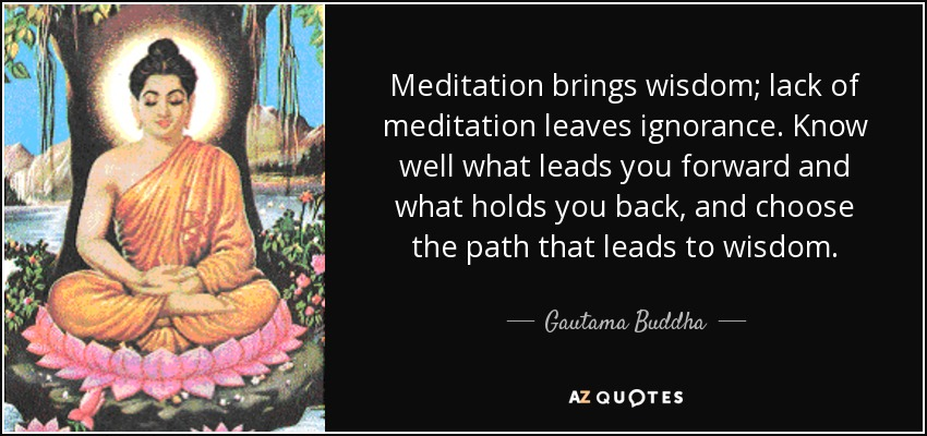 Meditation brings wisdom; lack of meditation leaves ignorance. Know well what leads you forward and what holds you back, and choose the path that leads to wisdom. - Gautama Buddha