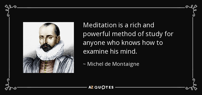 Meditation is a rich and powerful method of study for anyone who knows how to examine his mind. - Michel de Montaigne