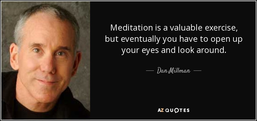 Meditation is a valuable exercise, but eventually you have to open up your eyes and look around. - Dan Millman